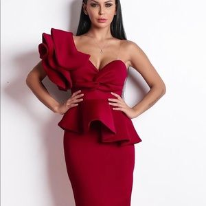 One shoulder couture midi dress